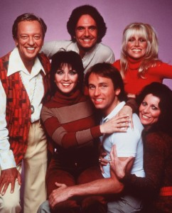"""Cast members from the television show """"Three's Company"""" are seen in this undated photo made available in 2000 by Nick at Nite. From left: Don Knotts, Joyce DeWitt, Richard Kline, John Ritter, Suzanne Somers and Ann Wedgeworth. Knotts, the skinny, lovable nerd who kept generations of television audiences laughing as bumbling Deputy Barney Fife on """"The Andy Griffith Show,"""" died Friday night, Feb. 24, 2006 of pulmonary and respiratory complications at Cedars-Sinai Medical Center in Beverly Hills. He was 81. (AP Photo/Nick at Nite)"""