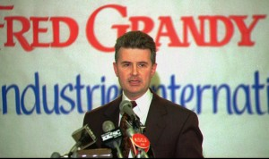 Former Iowa congressman Fred Grandy announces his future plans as incoming president and CEO of Goodwill Industries International Wednesday, Jan. 25, 1995, in Sioux City, Iowa. Grandy will assume the post July 1, 1995 and will move from Sioux City to Washington D.C. (AP Photo/Sioux City Journal, Mark Fageol) ORG XMIT: SXC101